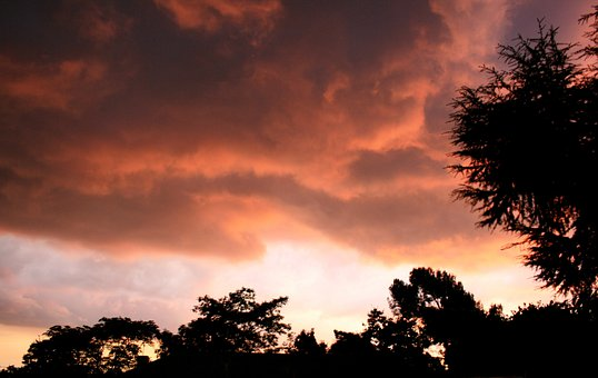 Clouds, Low, Stormy, Glowing, Light, Pechy-pink