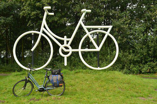 Bicycle, Cycling, Large, Small, Image, Statue, White