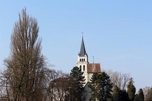 Church, Steeple, Schlossberg, Landscape, Romanshorn