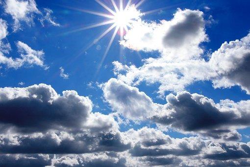 Sun, Star, Light, Bright, Clouds, Sky, Blue Sky
