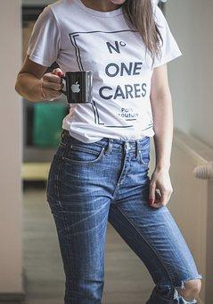 Jeans, Tee, T Shirt, White, Blue, Woman, Model
