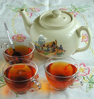 Tea, Beverage, Drink, Cups, Table, Table Cloth, Teapot
