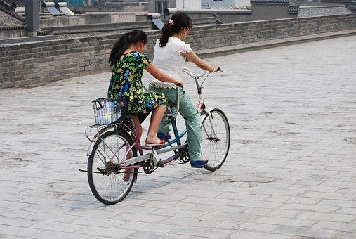 Bike, Bicycle, Tandem, Riding, Built, Two, Gray Bike