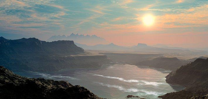 Landscape, Water, Sun, Mountains, Lake, Pond, Bank