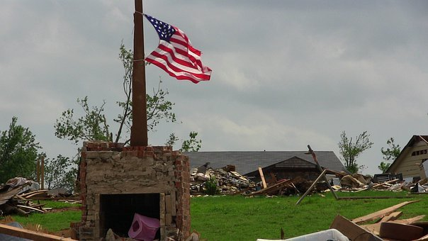 Tornado, Destruction, Flag, American, America, Twister