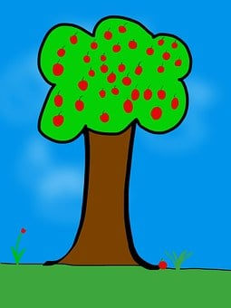 Children Picture, Apple Tree, Tablet, Cartoon, Apple