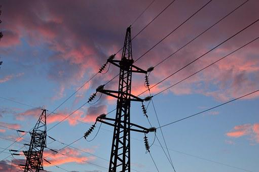 Lap, High-voltage Line, Electric Wires, Cables And Sky