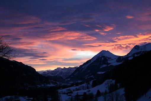 Sunset, Mountains, Afterglow, Evening Sky