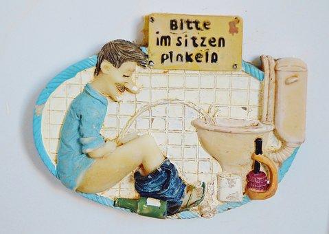 Fun, Wall Relief, Artifact, Toilet Room, Humor