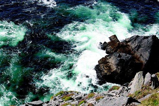 Atlantic, Cliffs, Surf, Sea, Ireland, Kerry, Wave
