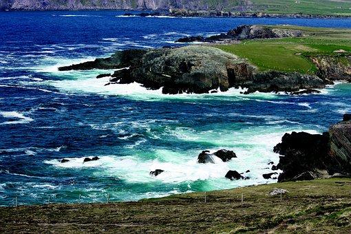 Dingle, Atlantic, Cliffs, Surf, Sea, Ireland, Kerry