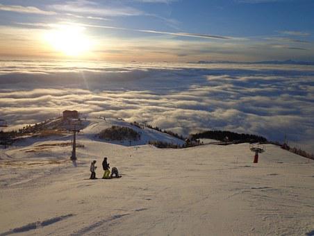 Slovenija, Krvavec, Skiing, Fog, Ski Slope, Sunset