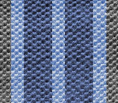 Fabric, Textured, Design, Coarse, Dark Blue, Light Blue