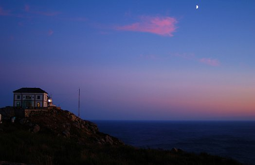 Galicia, Fisterra, Night, Moon, Lighthouse, Cape