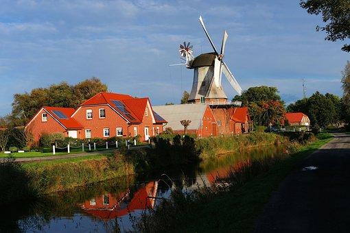 Windmill, Wieke, Landscape, Mill, East Frisia, Sky