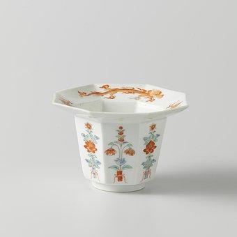 Porcelain, Vessel, Flower Print, Historic, Museum
