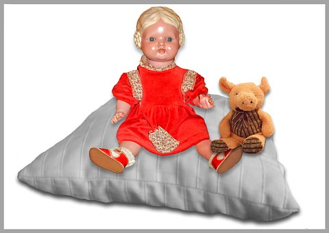 Doll, Pig, Children Toys, Pillow, Red Dress, Old