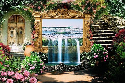 Garden, Flowers, Fantasy, Remix, Pixabay, Design, Flora