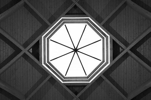 Ceiling, Art, Roof, Light, Window, Octagon, Design