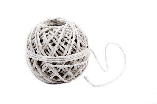 String, Twine, Ball, Twined, Isolated, Rough, Square