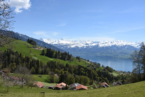 Lake Thun, Mountains, Switzerland, Bernese Oberland