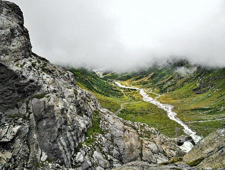 The Alps, Austria, The Valley Of The, The Fog, Stream