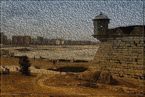 Defensive Wall, Old Wall, Turret, Figure, Mood