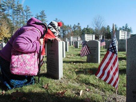 Cemetery, Veteran, Widow, Sadness, Memorial, Honor, War