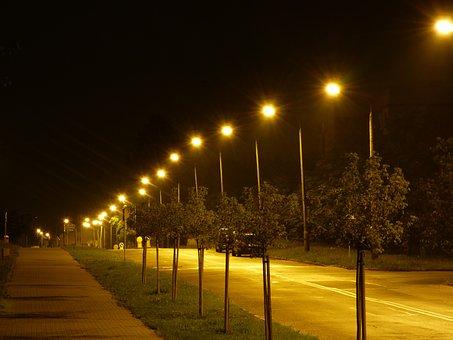 Night, Street, Way, Light, Lanterns, The Prospect Of