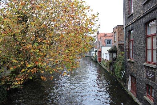 Belgium, Brugge, Autumn, Canal, Tourism, Belgian