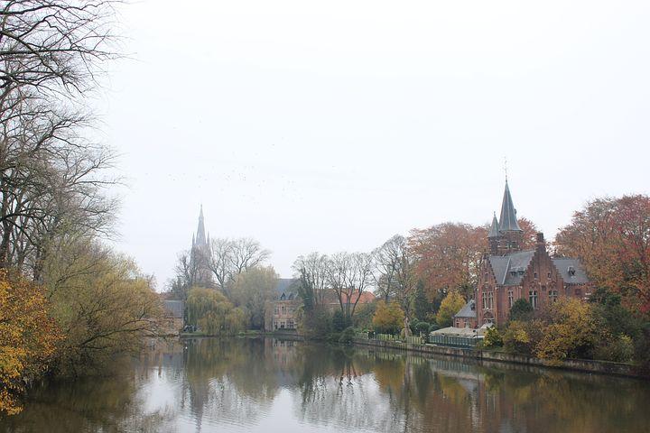 Medieval, Canal, Brugge, Belgium, Building