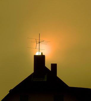 Chimney, Roof, Sun, Sunset, Home, Building, Fireplace