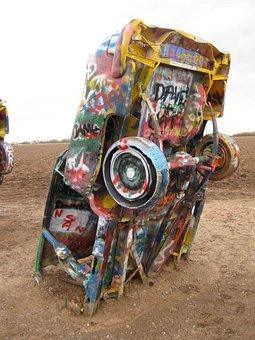 Amarillo, Caddy's, Texas, Cars, Caddy, Dirt