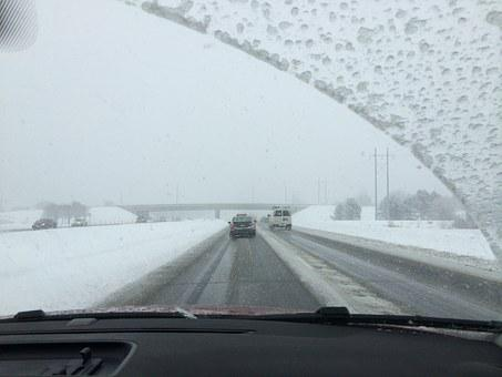 Winter, Driving, Windshield, Snow, Road, Car, Travel