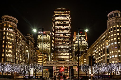 City, Building, Night View, Canary Wharf