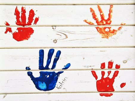 Handprint, Hands, Color, Wall, Wood, Colorful, Reprint