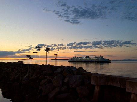 Ferry, Sunset, Puget Sound, Fish, Cruise, Ship, Summer