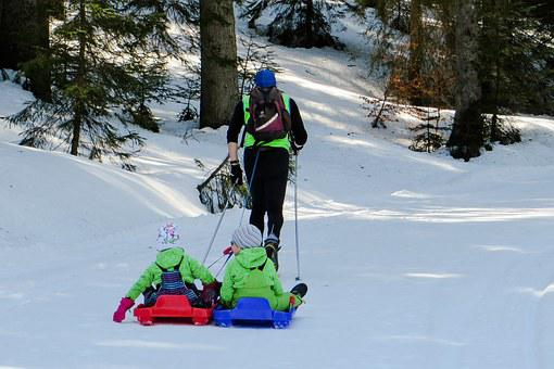 Slide, Winter, Snow, Fun, Sleigh Ride, Children, Drag