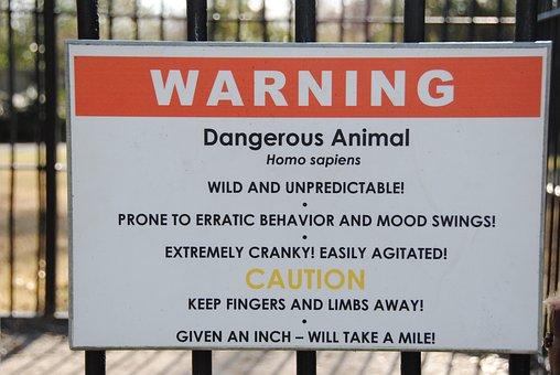 Warning, Homo Sapiens, Cage, Zoo, Sign