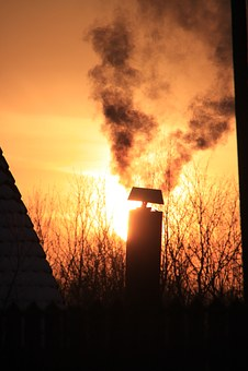 Chimney, House, Orange, Roof, Sky, Smoke, Sun, Sunset
