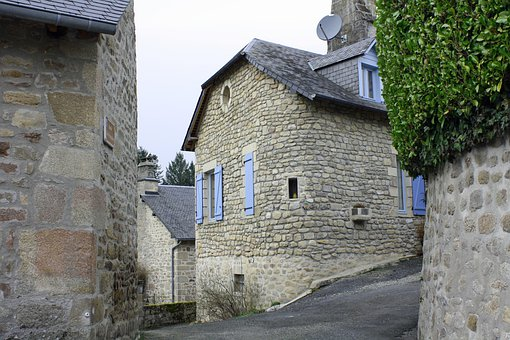 Curved House Wall, Old Stone Building, French House