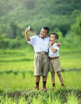 Selfie, Children, Phone, Asia, Photography, Boys