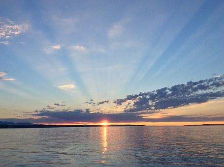 Sunset, Puget Sound, Sun Rays, Water, Sea, Ocean, Sun