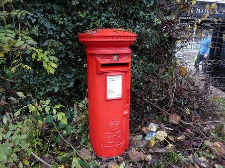 Post Box, Red, English, Mail, British, Letterbox