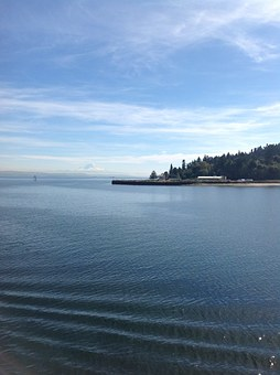 Water, Puget Sound, Ferry, Ripple, Lake, Ocean, Sea