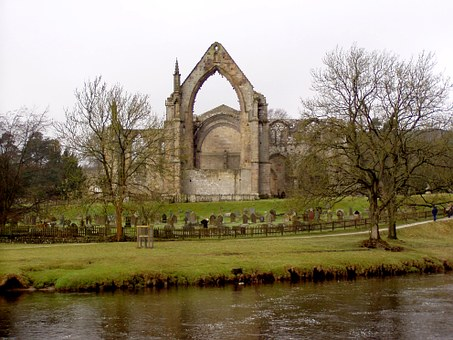 Ruin, Abbey, Gothic, England, River, Middle Ages