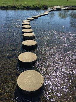 Stepping Stones, River, Stepping, Help, Direction