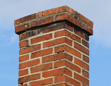 Chimney, Brick, Orange, Wall, Roof, Crooked, Old