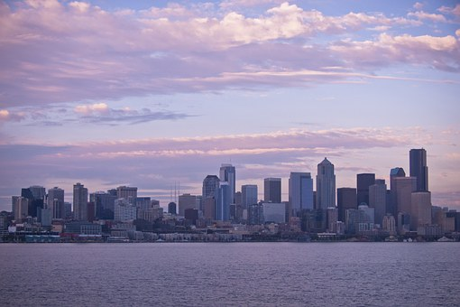 Seattle, Wa, Skyline, Sunset, Puget, Sound, Skyscrapers