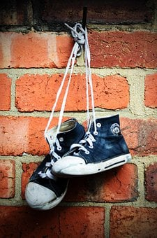 Sneakers, Shoes, Boots, Old, Children, Wall, Brick